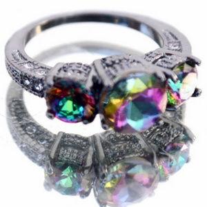 Jewelry - Mystic Topaz Size 7.75 8 10k GF Ring Rainbow 10KT